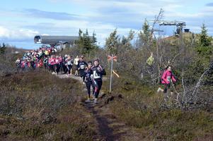 Starten har gått för årets Formtopp och 290 tjejer ger sig iväg mot målet vid Högfjällshotellet. Här ses de tjejer som springer tio km.