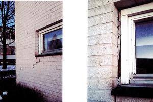 Sprickor i fasaden på Södra skolan och en murken fönsterlist där fukt kan tränga in och orsaka mögel.
