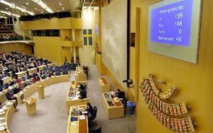 Riksdagen med voteringstavlan. Foto: Tomas Oneborg / SvD / TT