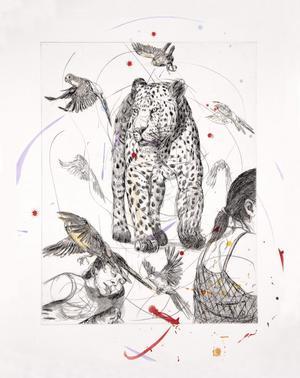 """Verket """"Leopard på stranden"""". Djur har alltid legat Linn Fernström nära och kommit att bli en del av den värld hon gestaltar."""