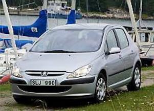 Foto: OLLE HILDINGSON Sneda ögon, brett flin. Peugeots nytillskott 307 är väldigt rymlig invändigt, mycket beroende på den väl tilltagna höjden. Vindrutan är enorm, ytan är nära en och en halv kvadratmeter, och långt framdragen.