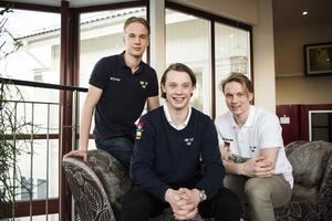Elias Pettersson, Jonathan Dahlén och Jens Lööke inför JVM 2016. Foto: TT