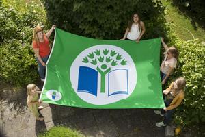 Foto: Håll Sverige rent. På Grön Flagg-dagen den 11 november får alla skolor och förskolor som jobbar med programmet en egen flagga att hissa.