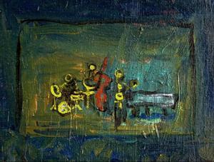 En jazzorkester inför publik, närmare bestämt Krister Anderssons band på valfri lokal, målad av Stig Sjöberg.