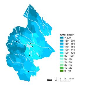 Antal dagar med snö i genomsnitt för åren 1961–1990.