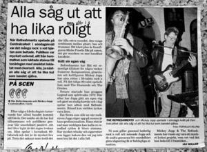 TRE. När Refreshments spelade på Centralcaféet 1993 fick de tre öron i betyg av På Gång.