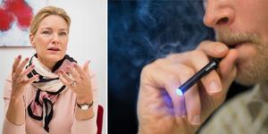 """""""Trots 18-årsgräns säljs e-cigaretter med smaker som bubbelgum, sockervadd och coca-cola"""" skriver bland andra Kristina Sparreljung, Hjärt-Lungfonden, i debattartikeln. Foto:  Hjärt-Lungfonden/Anna Molander/Berit Roald/TT/montage"""
