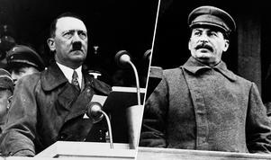Diktatorerna Adolf Hitler och Josef Stalin. Foto: TT