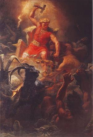 Tors strid med jättarna är en målning från 1872 av Mårten Eskil Winge.