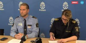 Josef Wiklund och Veronica Andersson vid polisens presskonferens.