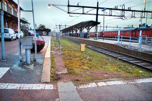 Här planeras ett nytt tågspår att anläggas på bangården i Krylbo.