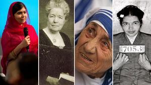 Malala Yousafzai, Selma Lagerlöf, Moder Teresa och Rosa Parks.