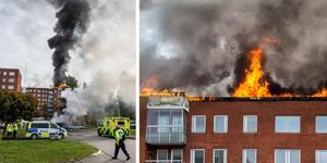 Branden tros ha startat på taket i samband med ett takarbete.