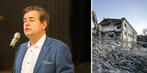 Moderaternas Pär Jönsson, vice ordförande i kommunstyrelsen, uttryckte glädje över att kommunen ämnar köpa gamla slakteritomten för att kunna bygga nya bostäder. Bild: Petter Hansson Frank/Johan Axelsson