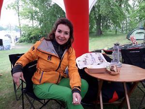 Äventyraren Renata Chlumska fanns på plats för att föreläsa och ta emot deltagarna i Ekoloppet, som går ut på att vandra, paddla och cykla.