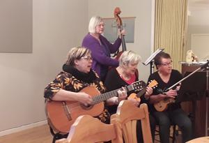 : Här har vi kvällens damorkester. Från vänster är det Anna F Hansson gitarr, Lisbeth Lindgren-Bergqvist bas, Siv Böhlin och Siv Börlin ukulele.
