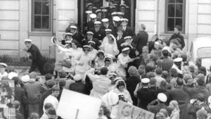Utspringet från Ekebyskolan i juni 1968. Foto: Sven Norling