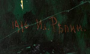 Jamtli har haft besök av en professor från restaureringsavdelningen på Repininstitutet för målning, teckning och skulptur, och chefen på Ilja Repin-museet i Penaty. Det var första gången de fått se och undersöka verket, då det tidigare bara funnits i register. De ryska Repin-kännarna tror att brorsonen är förlagan för motivet Narcissus och att signaturen är gjord av Repins dotter. Foto: Uppsala auktionskammare