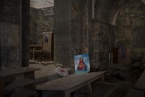 Islamiska statens härjningar på Ninevehslätten är nu över. Bilden visar interiören från en ortodox kyrka i staden Qaraqosh öster om Mosul, efter att den befriades från IS i november 2016. Foto: Felipe Dana/AP Photo