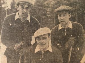 Brobergs stjärnspäckade halvbackskedja 1947, bestående av landslagstrion Gustav