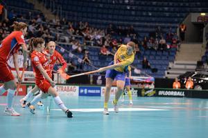 Sundsvallsfostrade Emelie Wibron gjorde fyra nya poäng i semifinalen. Nu väntar en ny VM-final för Sverige.Foto: IFF