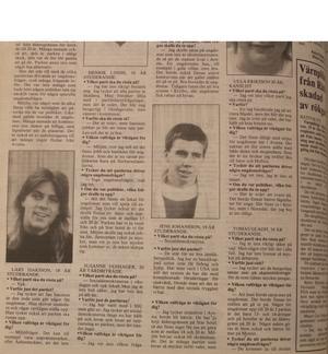 Lars Isacsson, nere till vänster i bild. Intervjuad i Avesta Tidning 15 september 1988.