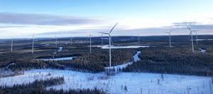 Verkens totalhöjd är 180 meter och navhöjden 125 meter i vindparken Munkflohögen. Foto: Pressbild Vasa Vind