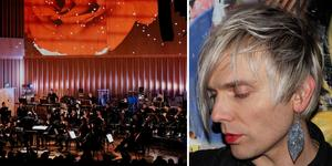 Vänster: Västerås sinfonietta. Höger: Moto Boy, en av flera artister som tillsammans med Sinfoniettan ska hylla David Bowie i Västerås konserthus på fredag. Foto: Martin Bohm/Pressbild