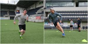 Löpträning med riktningsförändringar för Lööke och Eriksson när Magnus Nilsson gör dem redo för nästa ishockeysäsong.