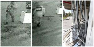 På bilden till vänster syns gärningsmannen iklädd mörka kläder, som asfalten (ser ljust ut på bilden) närma sig entrédörren. Bild två vänder om varpå sprängladdningen kort efter detonerar  och förödelsen är ett faktum. Foto: Övervakningskamera och polis.