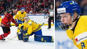 Sveriges Filip Gustavsson (vänster) och Rasmus Dahlin (höger) tog båda platsen i JVM:s all star-lag. Bilder: Joel Marklund/Bildbyrån.