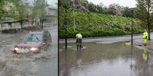 Vid halv åtta-tiden var det som mest vatten på vägen, visar läsarbilden till vänster.