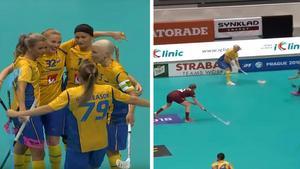 Sverige vann som planerat mot Lettland och efter 21–0 är landslaget klart för semifinal. Bild: IFF.