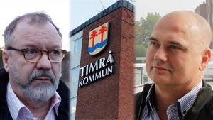 Politikerbråk i Timrå. Socialnämndens ordförande Per-Arne Frisk (S) tycker att oppositionsråd Tony Andersson (M) har agerat felaktigt när han krävde socialchefens avgång. Bilden är ett montage.