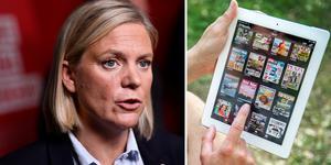 Digitalmomsen kommer att sänkas den första juli, vilket är, enligt Magdalena Andersson (S), en