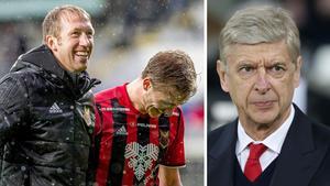 Arsenals tränare Arsène Wenger hyllar ÖFK:s Graham Potter. Bild: TT Nyhetsbyrån.