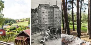 Biskopsängen 2019, Skultunavägen 62 1991 och Hovdestalund.