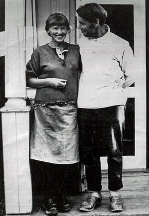 Gerd och Niklas Göran arbetade hemma i var sin konstnärsateljé. Bilden är från 1960-talet. Foto: Privat