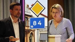 Markus Evensson (S), och Maria Molin, (M), hade diametralt motsatta åsikter om en folkomröstning rörande riksvägen.