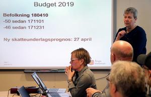 Ekonomichef Catharina Norberg redovisar de ekonomiska förutsättningarna för tekniska nämnden.