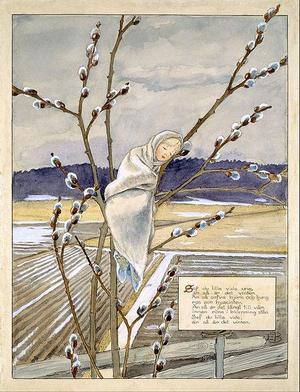 """Topelius skrev visan """"Sov du lilla videung"""". Här i illustration: Elsa Beskow, Nationalmuseum,"""