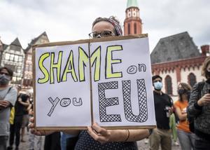 Demonstration mot EU:s hantering av migrationsfrågan, efter den ödesdigra branden i flyktinglägret Moria. Foto: Boris Roessler/AP Photo