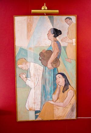 I vardagsrummet hänger en imponerande målning av konstnären Einar Rosén. Den fick Carin för länge sedan av sin mormor och morfar.