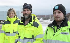 Karin Jugas och projektledarna Mathias Eljas och Jesper Jugas ser med spänd förväntan fram emot den dag då den nya blandarstationen är helt klar.