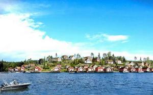 På Tjockudden på Ulvön planeras ett byggprojekt bestående av mellan 30 och 40 villor. Skiss: Sweco