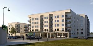 Bjurhovdas nya centrum, enligt arkitektens skiss.                                          Bild: E/S-A Arkitekter AB