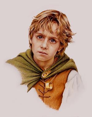 Den lille hoben Frodo Bagger är hjälten i J. R. R. Tolkiens böcker om Härskarringen. Illustration av Mark J. Ferrari från 1987.