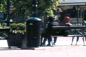 En turist fångade de två misstänkta gärningsmännen när de satt på en bänk och spanade på bild av en slump. Bild: Polisens förundersökning