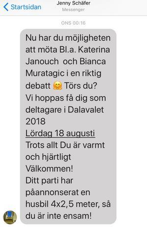 Foto: Skärmdump.Olle Thorells inbjudan till att medverka i Dalavalet 2018.