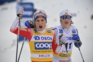Ebba Andersson hann ikapp Therese Johaug först i målfållan.